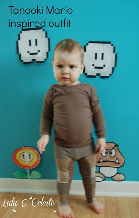 Tanooki Mario inspired outfit sewn by Lulu & Celeste